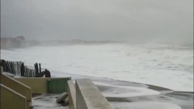 Big waves batter the French coast