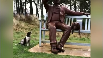 Hilarious Video Shows A Dog Barking at A Giant Statue Wanting it To Throw Its Ball