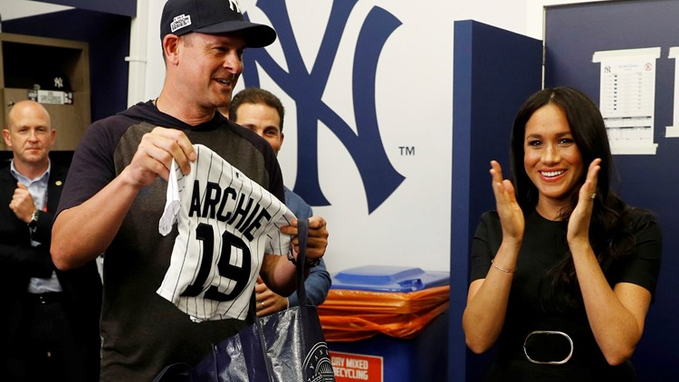 Yankees give jersey for Archie to Prince Harry and Meghan, the Duchess of Sussex.