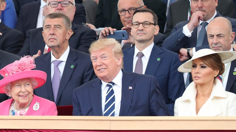 Britain's Queen Elizabeth with US President Donald Trump at D-Day 75th anniversary