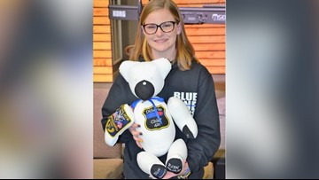 'You can hold onto the memory' | Police officer's daughter makes teddy bears for families of fallen