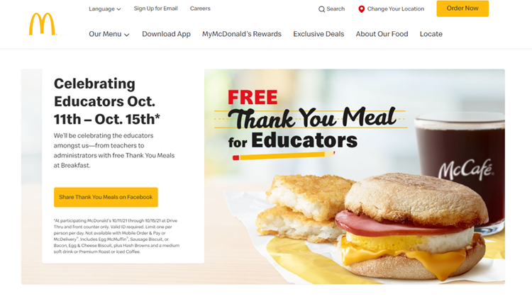 McDonald's will be offering free breakfast to teachers and staff this week