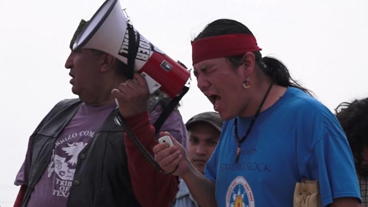 Carrizo/Comecrudo tribe leads march alongside environmentalist against a border wall