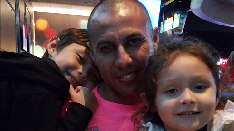 Edgar Baltazar Garcia pictured with daughter and son in 2016