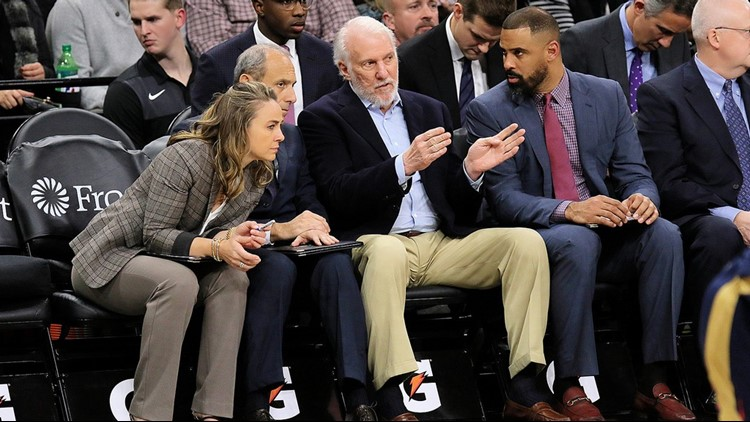 BKN Spurs assistant coaches Becky Hammon on the bench during a Feb. 2019 game