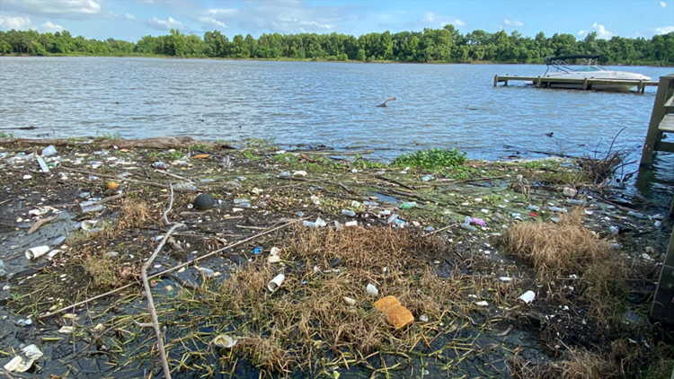 Major source of Houston's drinking water is littered with trash
