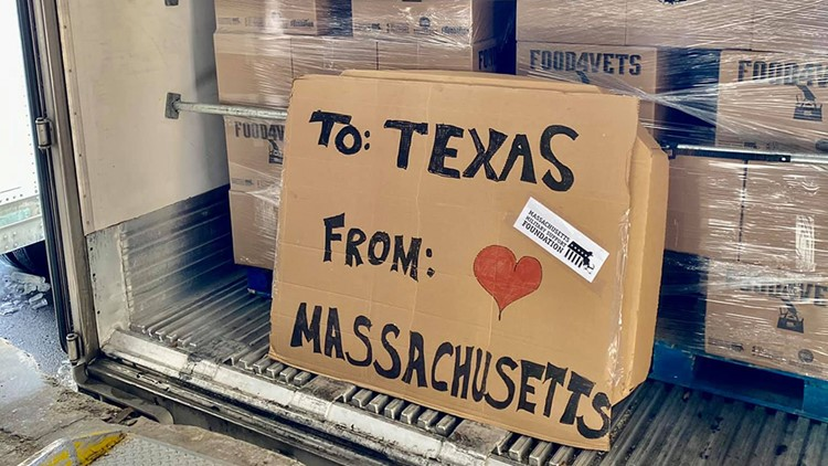 From Massachusetts with love: Truckloads of food arrive in Texas, courtesy of US veterans, New England Patriots