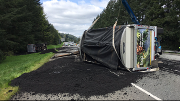 Human waste spilled onto I-90 in Washington after semi driver falls asleep, WSP says