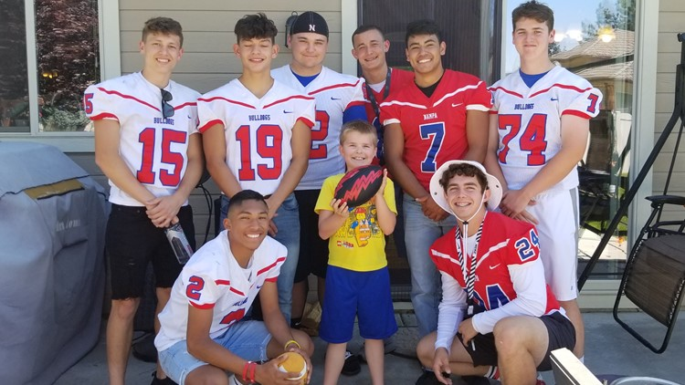 Football team go to a boy's birthday party after finding out most of the people invited weren't coming