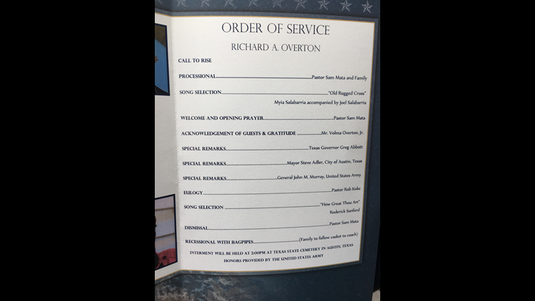 Order of Service for Richard A. Overton