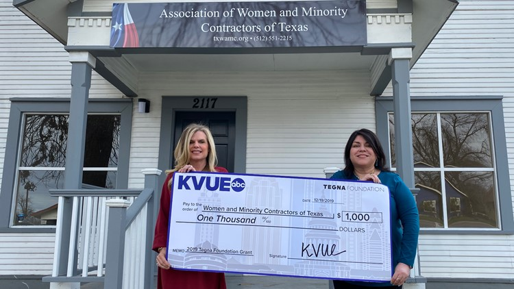 Women and Minority Contractors of Texas TEGNA foundation check presentation