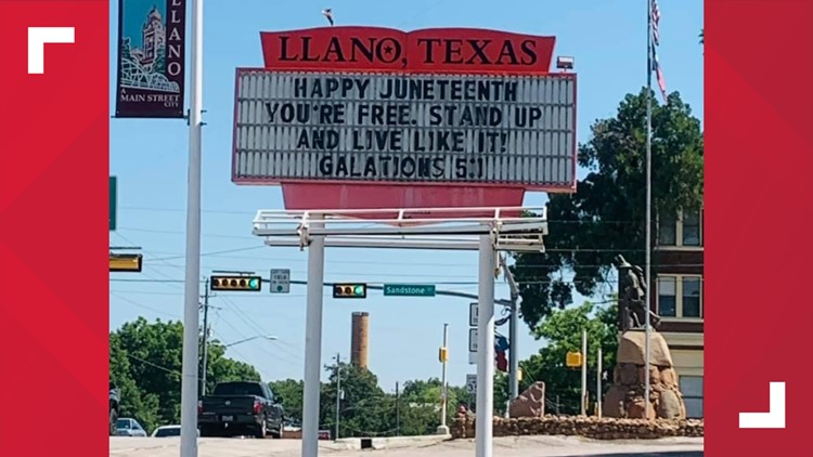 Llano Chamber of Commerce apologizes for Juneteenth marquee referencing Bible verse