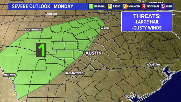 A few strong storms possible late Monday afternoon and evening