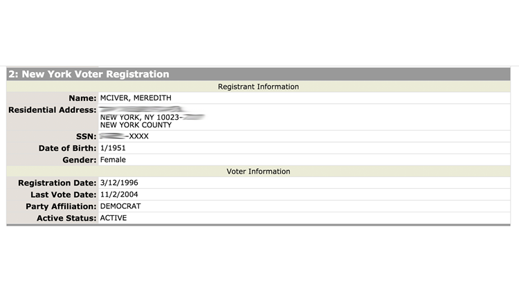 Meredith McIver, who has taken responsibility for the Melania Trump plagiarism scandal at the Republican National Convention, is a registered Democrat, according to Nexis, an online database. This is one of the three records found for her.