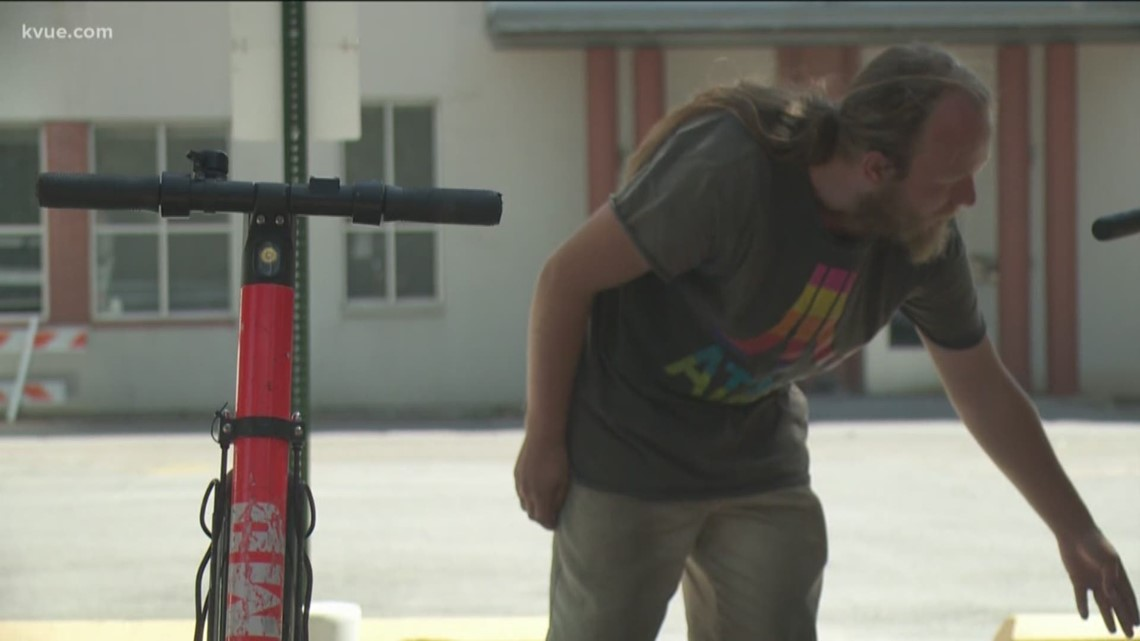 Cashing in on the scooter craze: One local homeless man charges scooters to make money