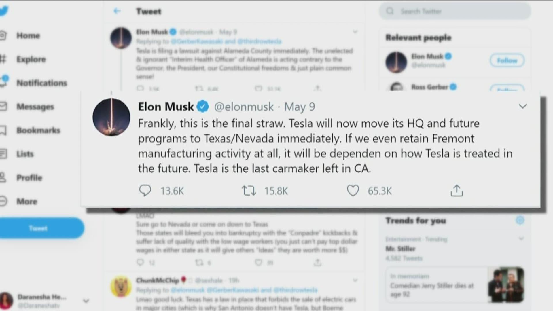 Elon Musk Says Tesla To Move Headquarters To Texas Immediately Is It Austin Kvue Com