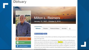 Namesake of Travis County's Milton Reimers Ranch Park dies at 82