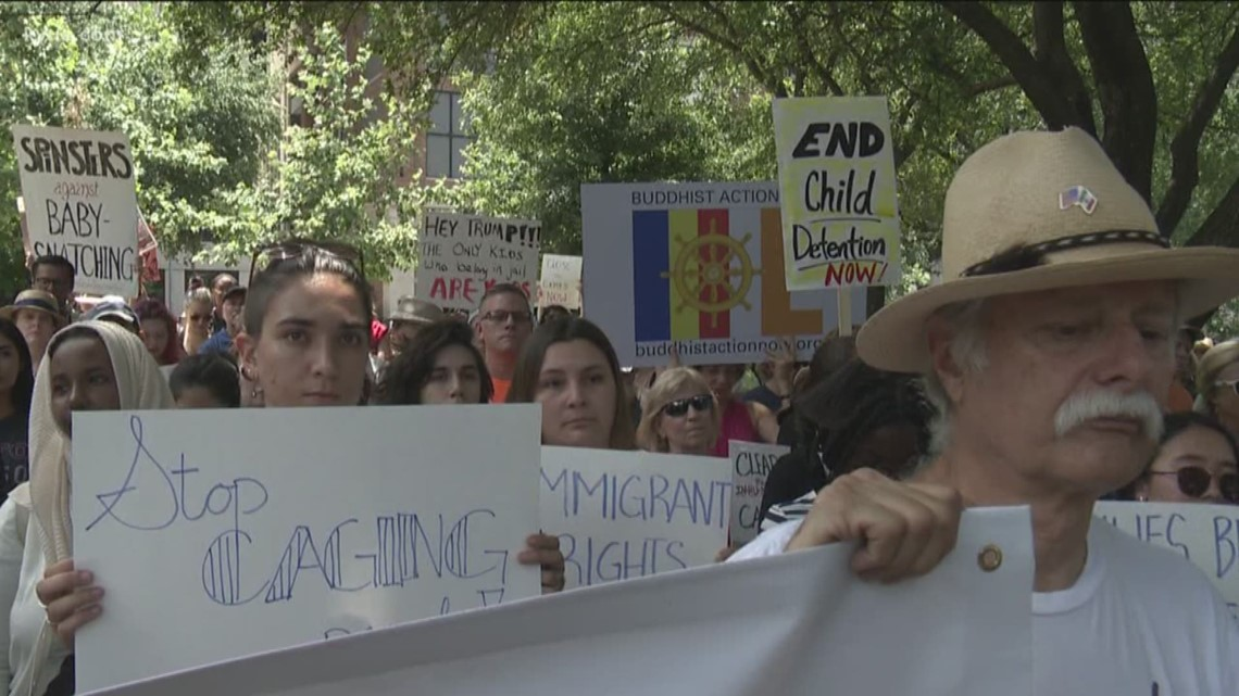 Protestors hold 'Close the Camps' rally in Austin