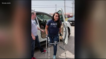 Officer Claudia Cormier welcomed home from hospital by San Marcos community
