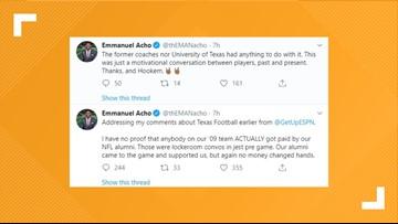 Former Longhorn Emmanuel Acho claims teammates were offered $1,000 per interception