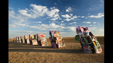 Someone set a Cadillac Ranch Cadillac on fire