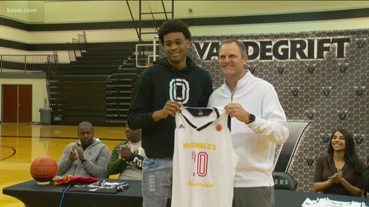 Vandegrift High School's Greg Brown receives McDonald's All-American jersey