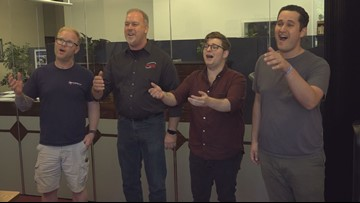 Austin barbershop quartet singing in international competition