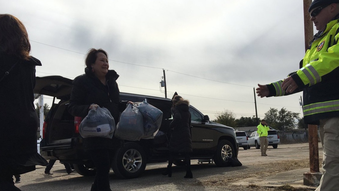 First Lady of Texas hands out goods at State of Texas homeless campsite