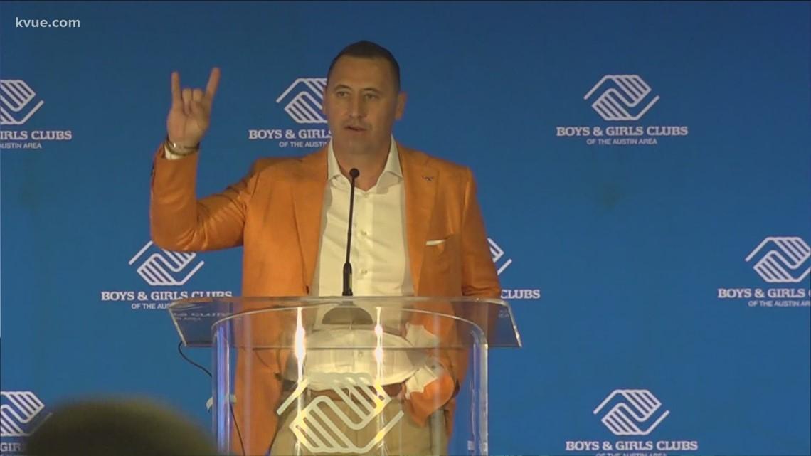 Texas head coach Steve Sarkisian speaks at Boys & Girls Club luncheon