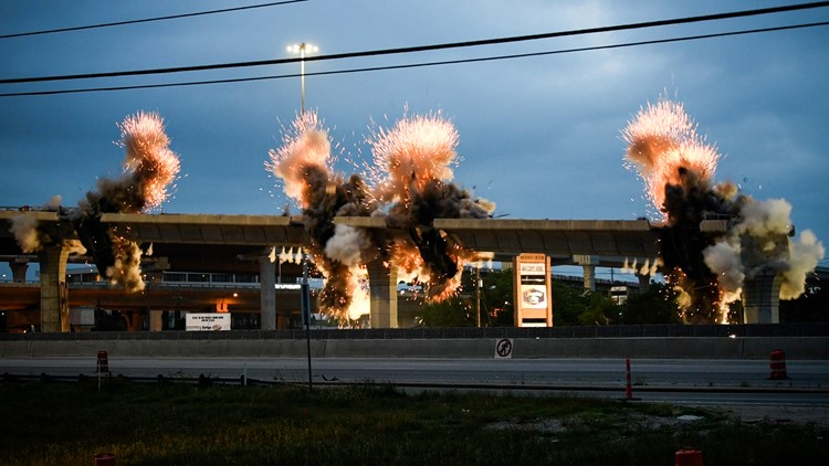 PHOTOS: Northbound I-35 to northbound U.S. 183 flyover imploded