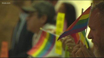 Groups protest, show support for 'Drag Queen Story Hour' outside Austin City Council meeting