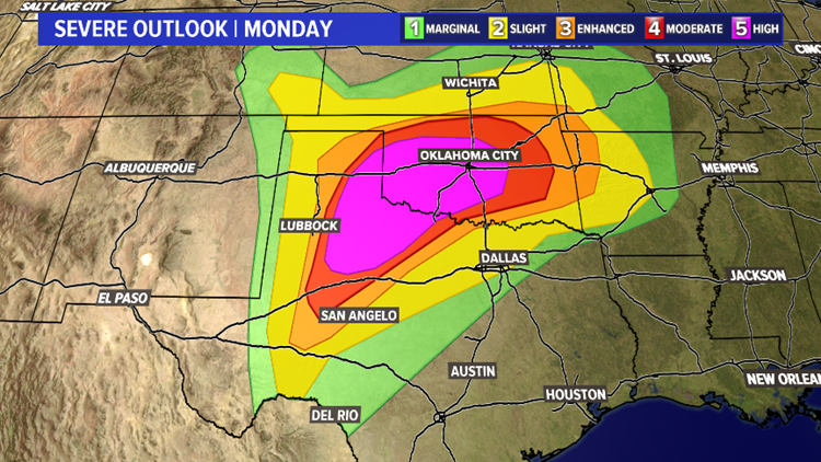 Map Of North Texas And Oklahoma.Severe Storms Expected To Impact Parts Of Texas Oklahoma Kvue Com
