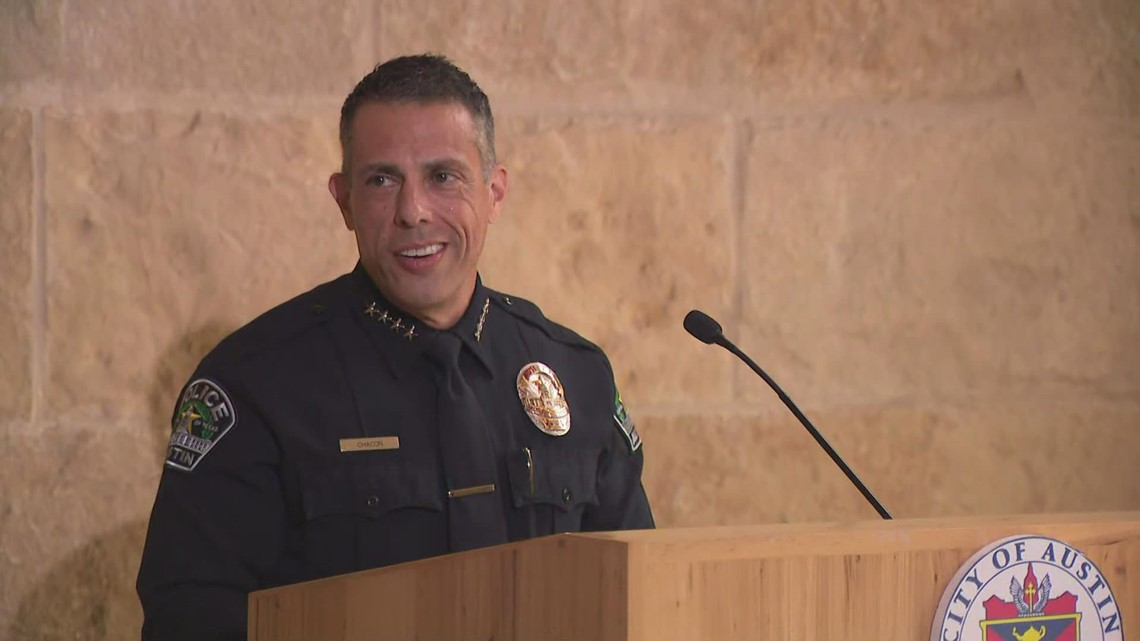 Joe Chacon speaks after being promoted to Austin chief of police
