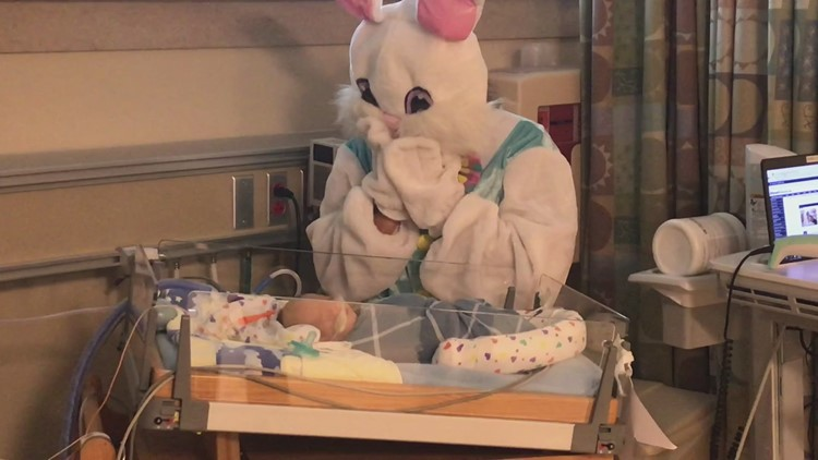 Easter Bunny visits infants in NICU at hospital