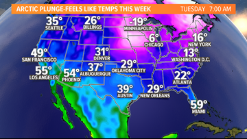 Cold, arctic air spreading across the country this week
