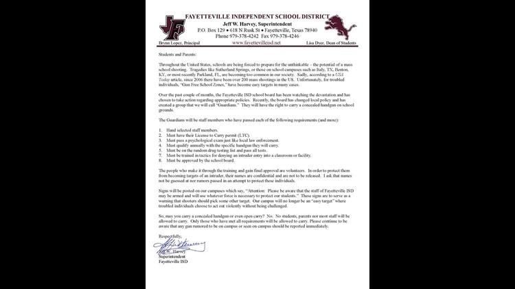 FISD letter to parents