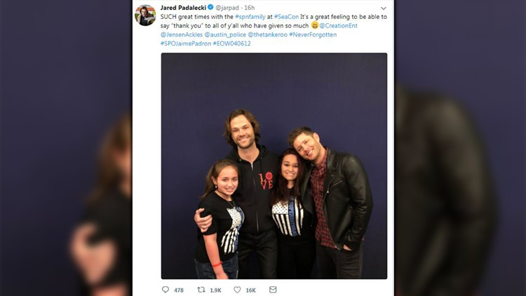 Actors Jared Padalecki and Jensen Ackles took the time to meet with the daughters of slain Austin police officer Jaime Padron, who was killed in the line of service in 2012.