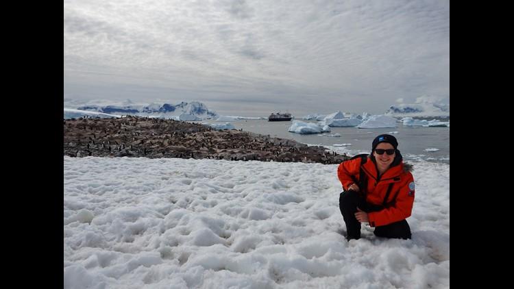 High School teacher David Walker in Antarctica with National Geographic's Grosvenor Teacher Fellows program.