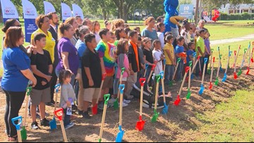 Students pick up shovels to break ground at Govalle Elementary in East Austin