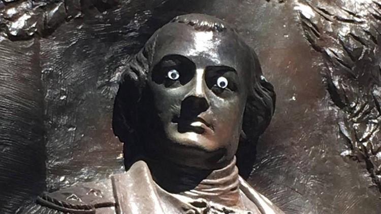 Someone stuck googly eyes on a statue of Revolutionary War hero Nathaniel Greene, but Savannah, Ga., leaders aren't amused.