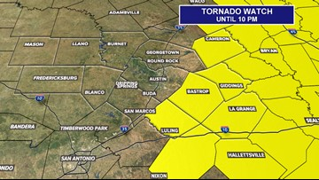 Tornado Watch for areas east of Austin