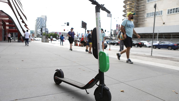 Lime dockless scooter in Los Angeles-432346027