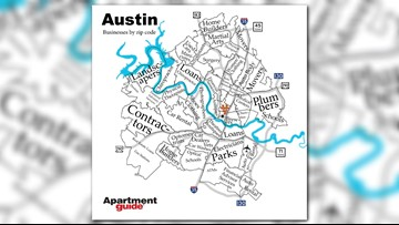 Apartment Guide releases how Austin looks according to the most popular businesses by zip code