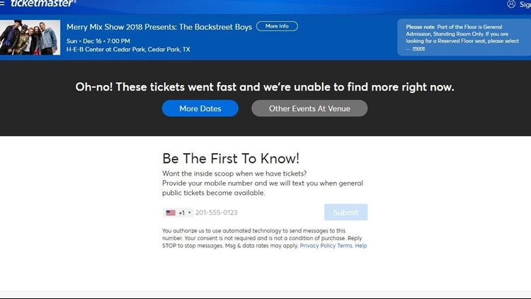 Austin Backstreet Boys tickets available through Ticketmaster website after issues