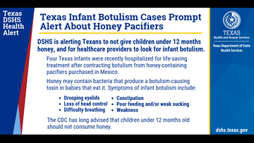 Texas DSHS warns parents of infants to avoid honey-filled pacifiers due to botulism