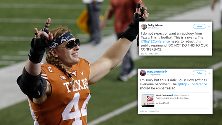 Former Oklahoma players defend Texas' Breckyn Hager, call out Big 12 for being 'soft'