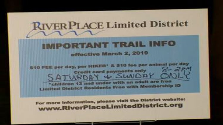 Sign at River Place Trail