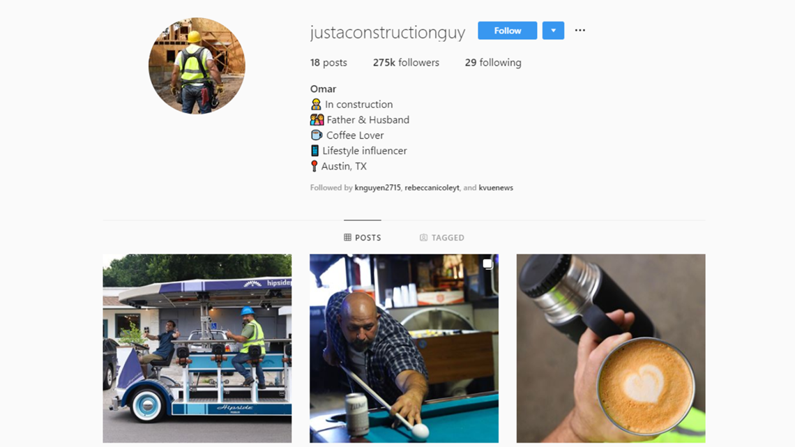 Do it for the 'gram | Austin construction worker goes viral after making 'influencer' Instagram