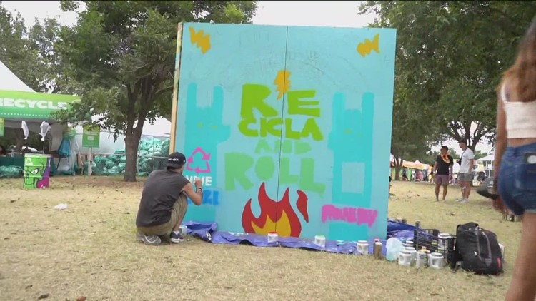 Austin artists paint murals at ACL Fest 2021 to promote recycling