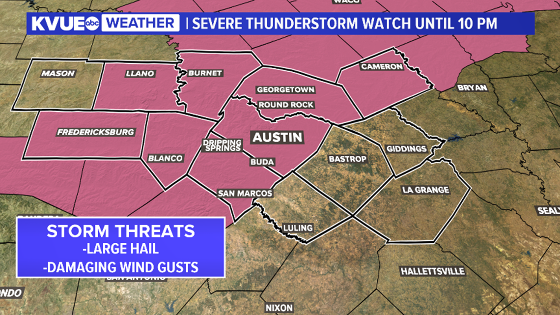 Severe Thunderstorm Watch issued until 10 p.m.; storms could produce large hail and strong winds